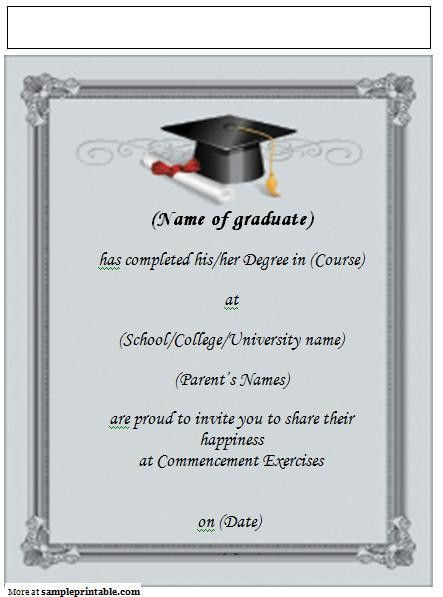 Best Collection Of College Graduation Invitation Templates That ...