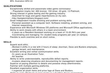 game tester resume sample game tester cover letter example test ...