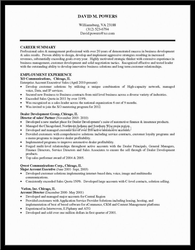 Profile Summary For Sales Resume | Resume Template Free