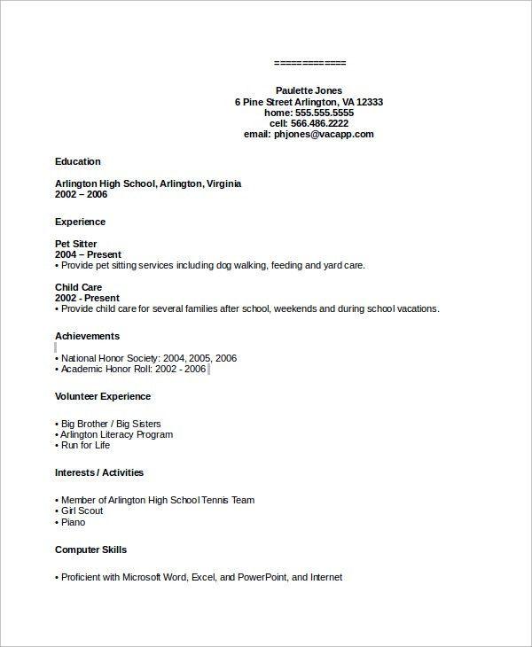 Sample Resume - 9+ Examples in Word, PDF