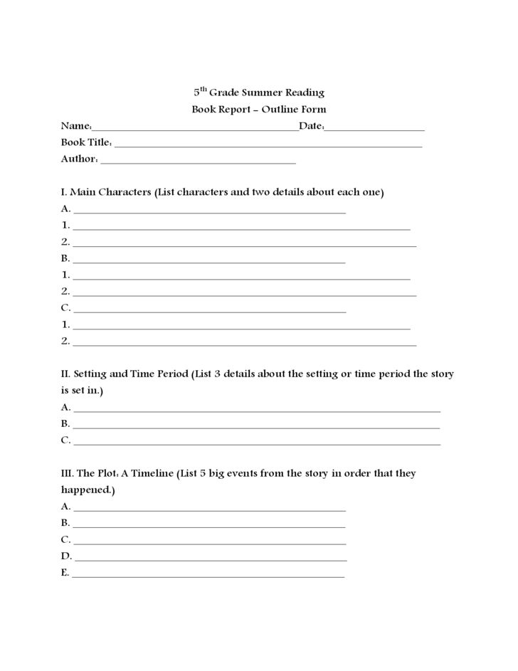 Summer Reading Book Report Free Download