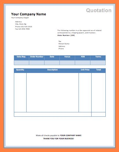Quote Template Word.company Service Quotes Template.png - Sales ...