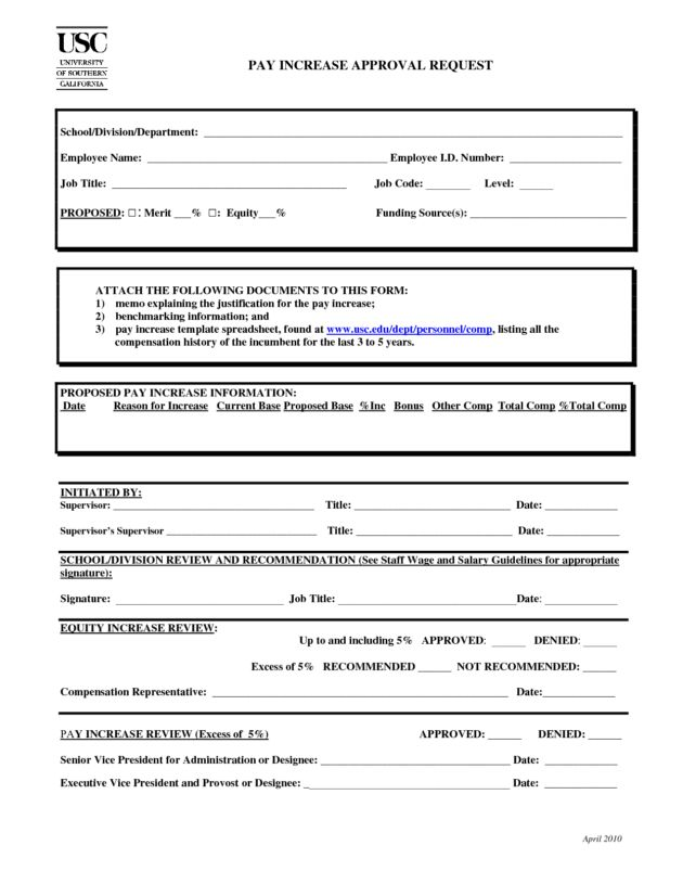Pay Raise Approval Request Form Sample : Helloalive
