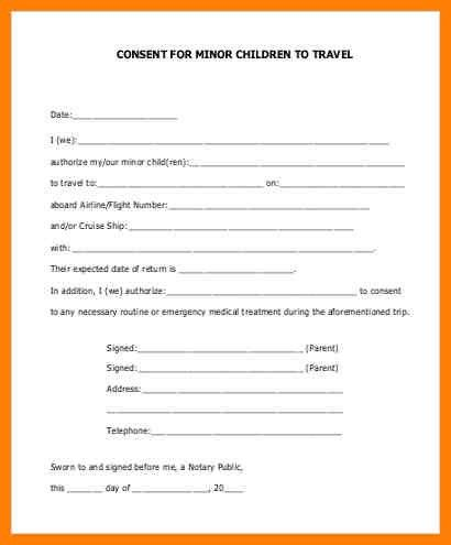 Child Travel Consent Form [Template.billybullock.us ]