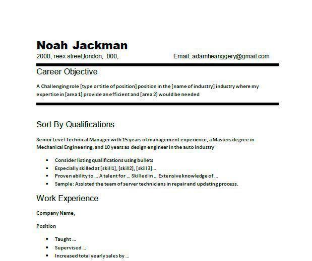 Career Objective Resume | berathen.Com