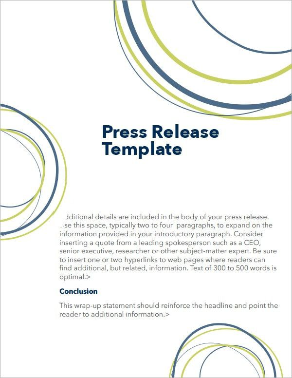 5+ Press Release Templates - Word Excel PDF Templates