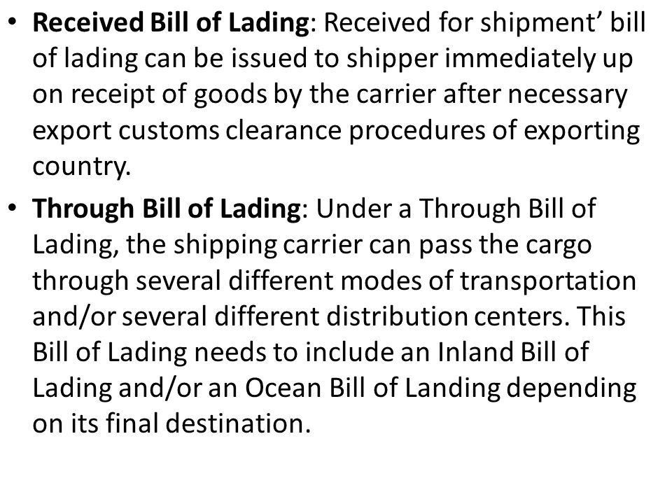 Chapter 2 Bill of Lading Week 3 & ppt video online download