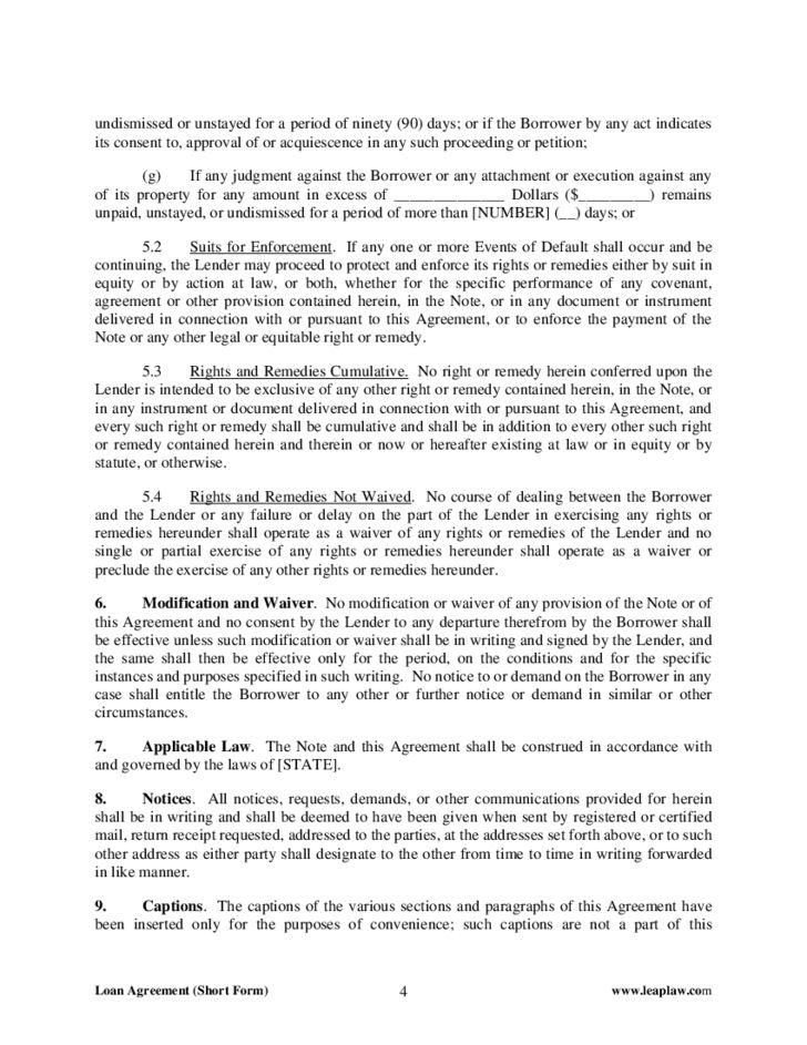 Standard Loan Agreement Form Free Download