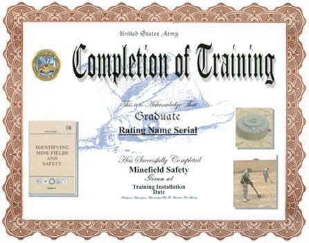 Minefield Detection and Safety Training Completion Display ...