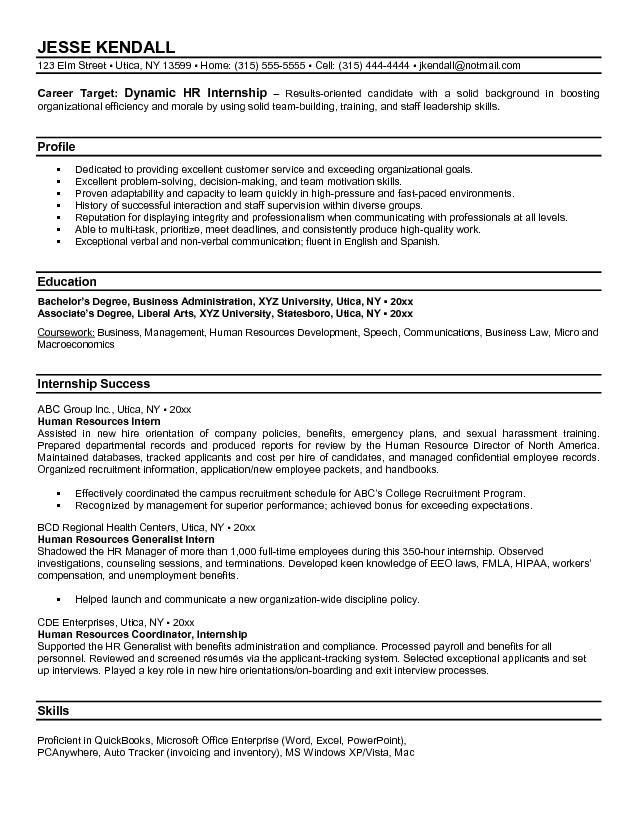 Free Human Resources Intern Resume Example