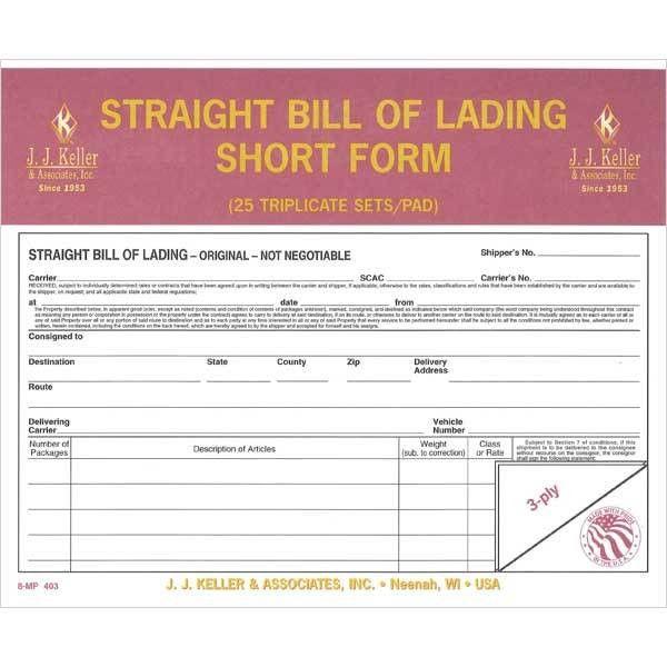 Straight Bill Of Lading Short Form   Iowa80.com