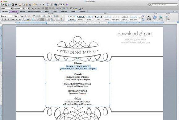 Free Wedding Menu Template | The Budget Savvy Bride