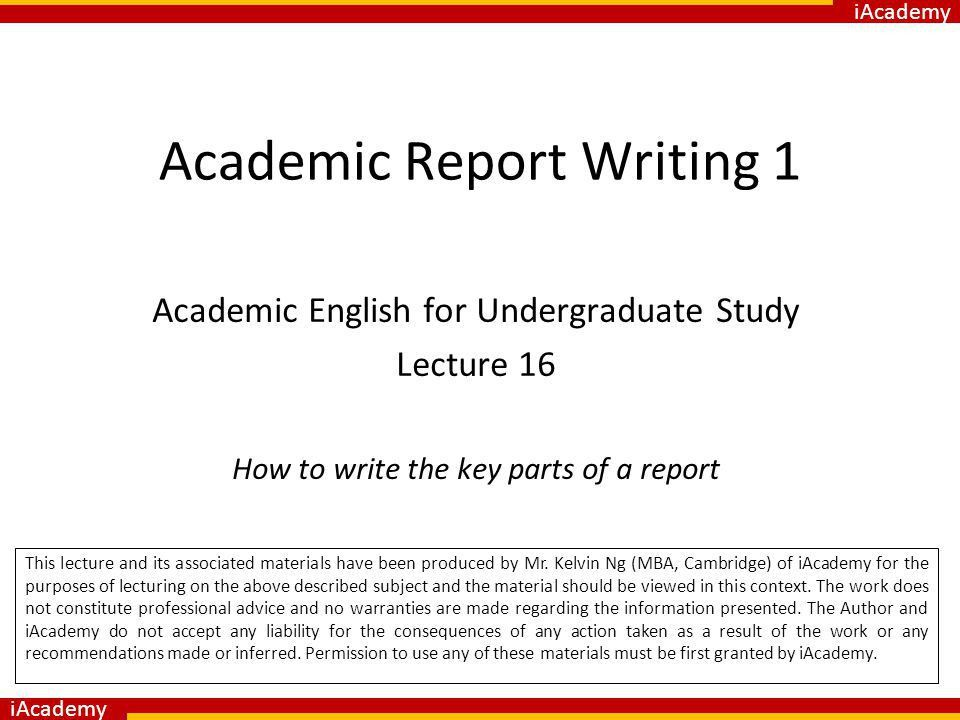 Academic Report Writing 1 - ppt video online download