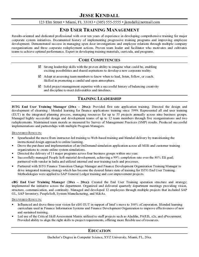 Example End User Training Manager Resume Sample