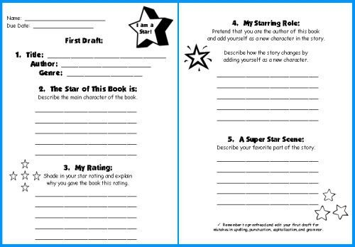 Star Book Report Project: templates, worksheets, grading rubric ...