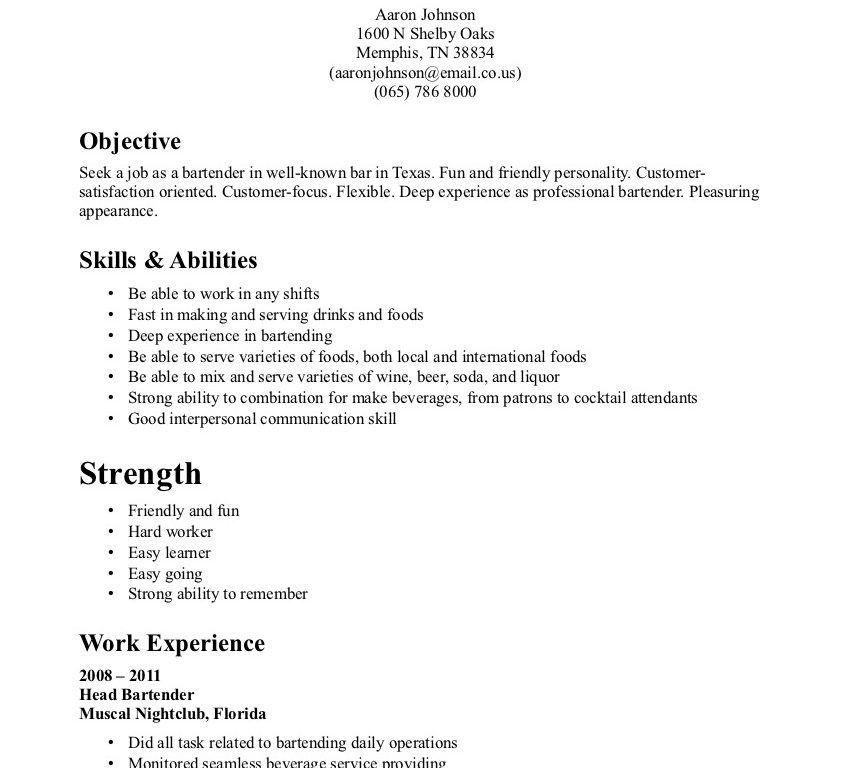 Neoteric Ideas Sample Bartender Resume 9 Sample Bartender Resume ...