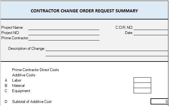 construction change order template word