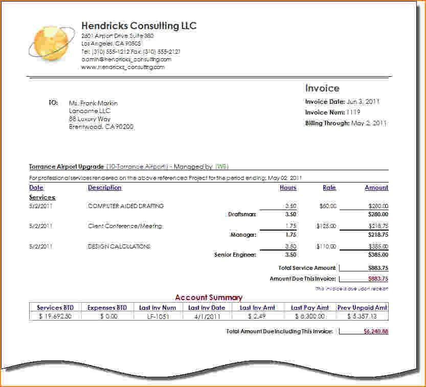 Consulting Invoice Sample. Free Service Invoice Template For ...