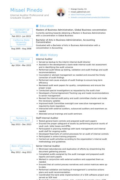 Internal Auditor Resume samples - VisualCV resume samples database