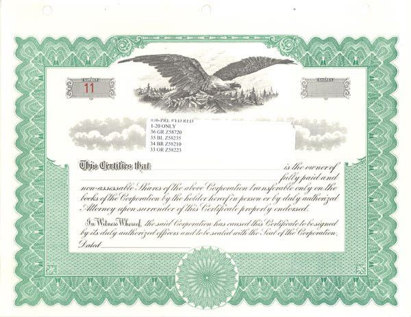 Stock Certificates Blank Free Printable Documents : Selimtd