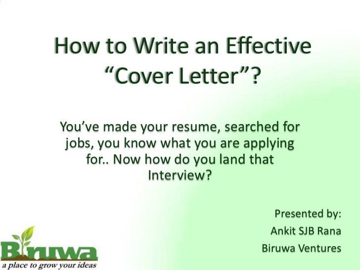 Cover Letter Presentation