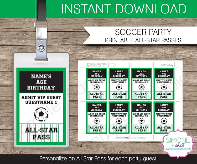 Soccer Party All Star VIP Passes template | Party Favors