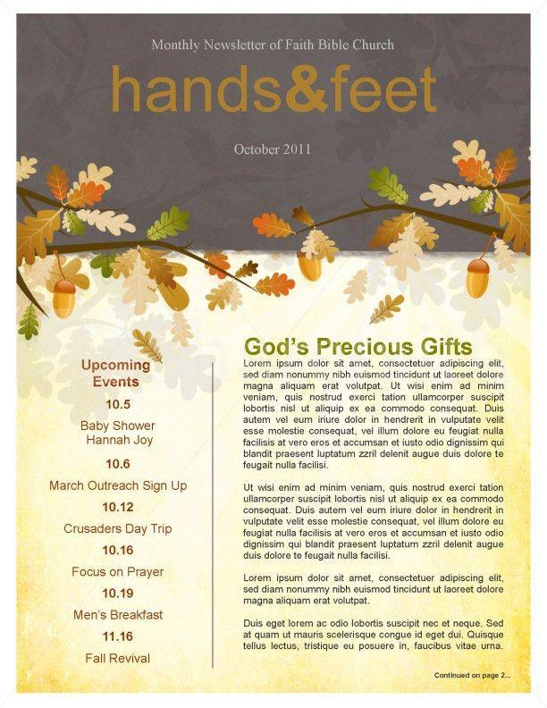Fall Leaves Easy Church Newsletter Template Template | Newsletter ...