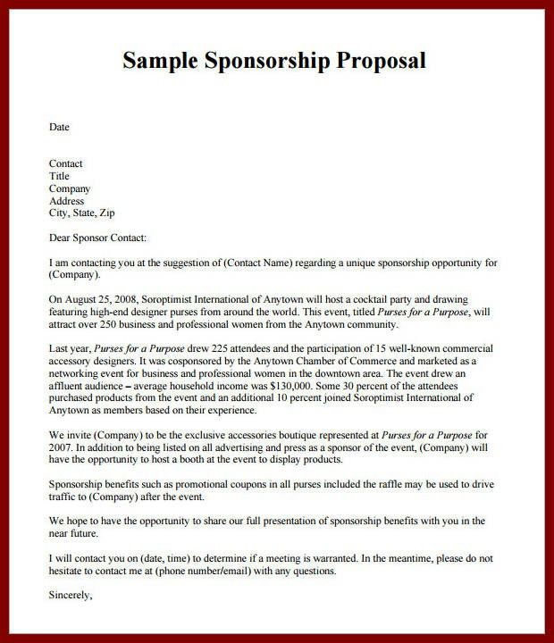 17 Request For Sponsorship Proposal Template | sendletters.info