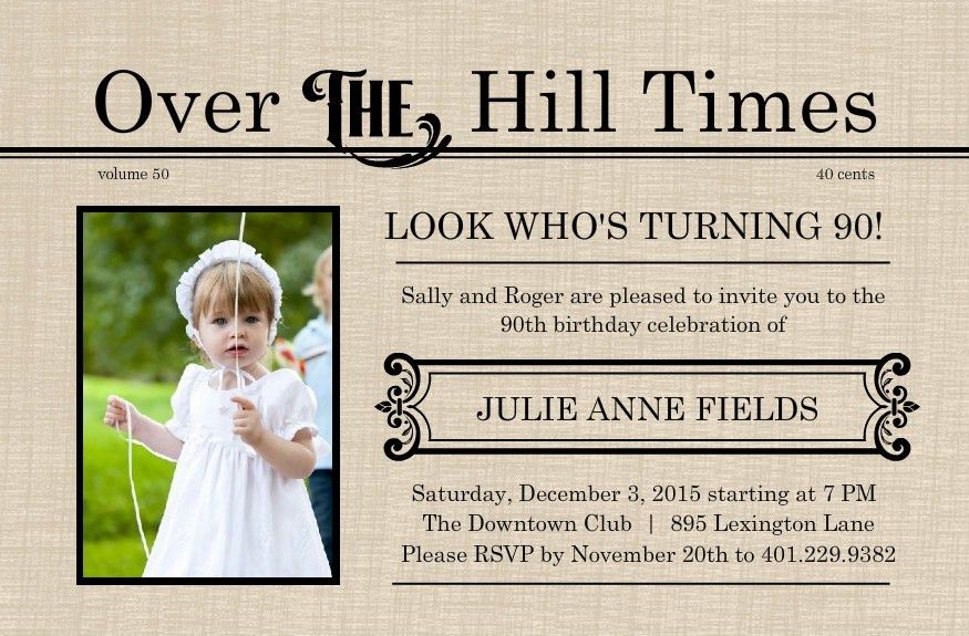 90th Birthday Invitations Samples - Invitations Templates
