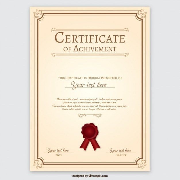Certificate of achievement Vector | Free Download