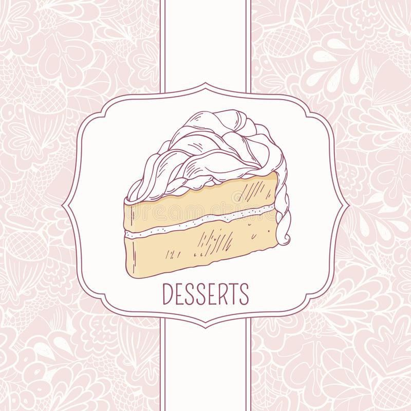 Dessert Menu Template With Sweet Cake And Doodle Stock Vector ...
