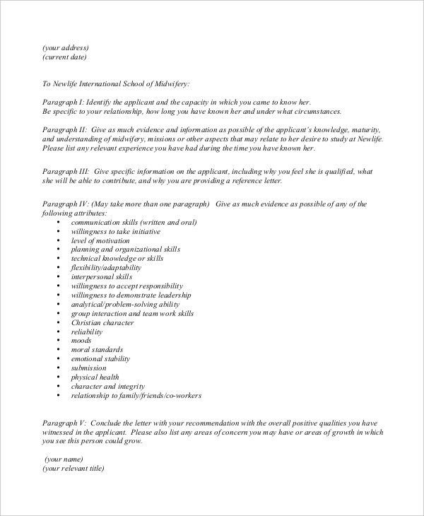 Character Reference Letter Format. Free Character Reference Letter ...