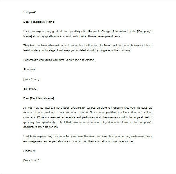 Thank You Letter For Recommendation – 8+ Free Sample, Example ...