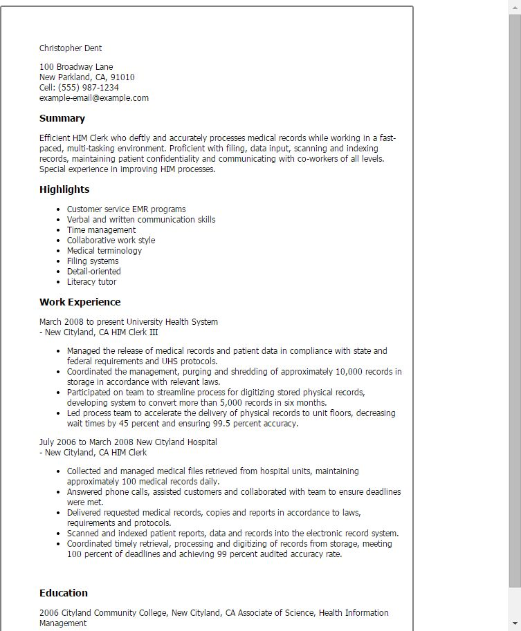 Medical Clerk Sample Resume | haadyaooverbayresort.com