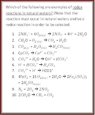 Which Of The Following Are Example Of Redox Reacti... | Chegg.com