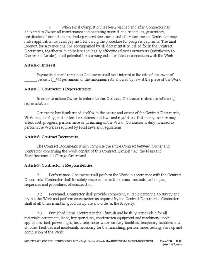 General Construction Contract Form Free Download