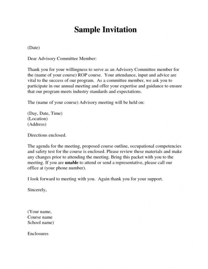 Awesome Business Meeting Invitation Letter Ideas - Best Resume ...
