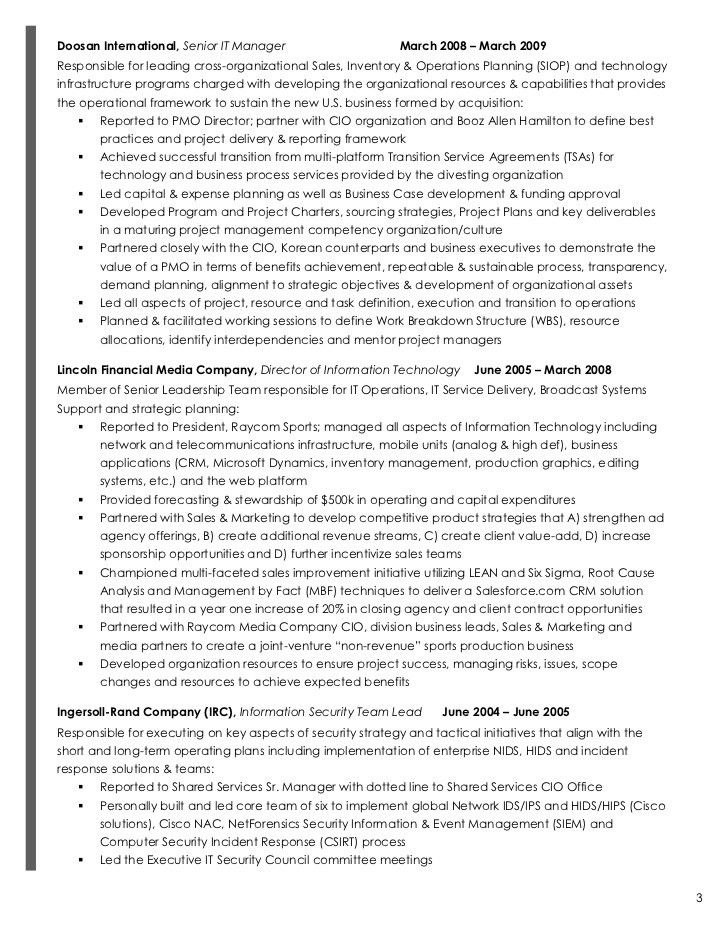 100+ [ Director Of Information Technology Resume ] | John D Goy ...