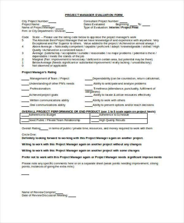 7+ Manager Evaluation Form Samples - Free Sample, Example Format ...