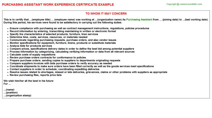 Purchasing Assistant Work Experience Letters