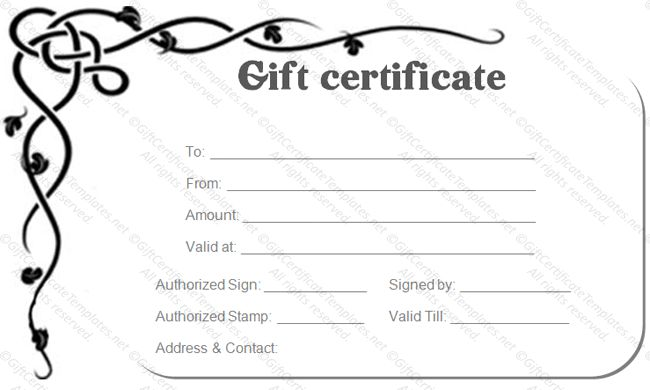 Corner Border Gift Certificate Template - Gift Certificates