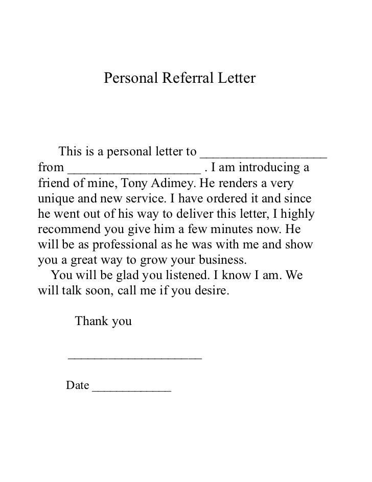 10+ Sample Referral Letters - Sample Letters Word