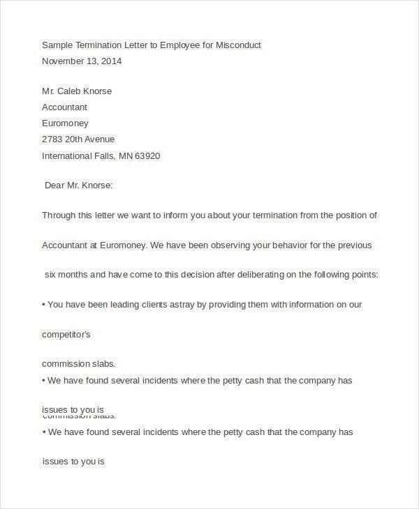 Employee Termination Letters. Sampleterminationltrnoshow ...