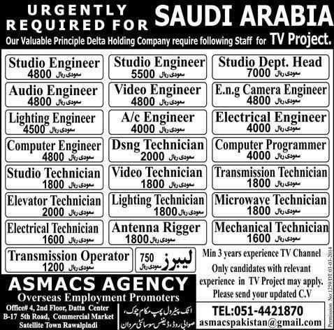 Saudi Arabia TV Project Jobs - Delta Holding Company Jobs in ...