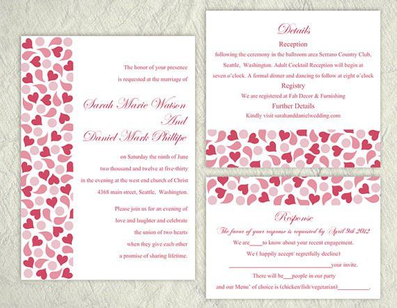 DIY Wedding Invitation Template Set Editable Text Word File ...