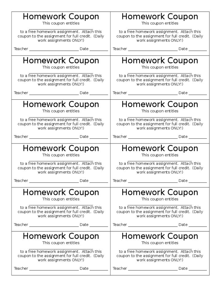 Homework Coupon Template Free Download