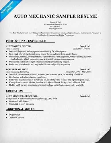 free auto mechanic resume aircraft template image tech sample r ...