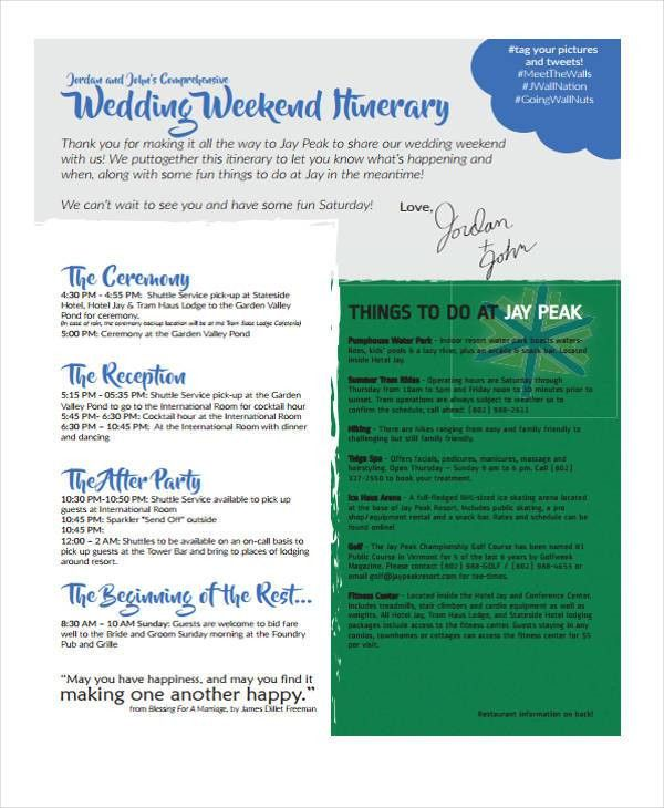 5+ Weekend Itinerary Templates - Free Sample, Example Format ...