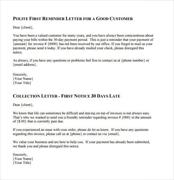 Collection Letter Template   7+ Download Documents For PDF