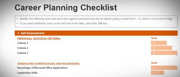 Career Planning Checklist Template for Excel 2013